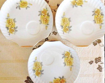 3 Japanese bone china saucers with yellow roses originally from tennis sets 1960s mid century vintage