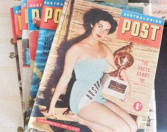 6 vintage Australasian Post magazines, 1953 and 1954, ephemera, movie props, theatre props