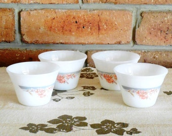 Indopal pyrex style, oven proof vintage mid century custard cups, floral detail, kitchenalia