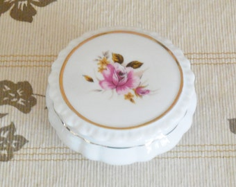 Bone china fluted trinket box with lid, floral rose design, perfect condition 1950s unmarked