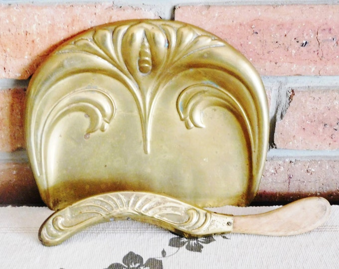 Featured listing image: Beldray 1910s Art Nouveau silent butler brass crumb tray with brush, made in England, display piece, movie prop
