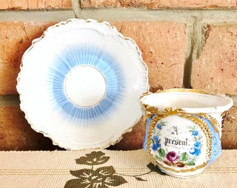 """1900s antique elaborate, gilded porcelain teacup and saucer """"A Present"""", Mother's Day gift idea"""