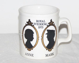 Princess Anne and Mark Phillips 1973 Royal Wedding commemorative Staffordshire mug
