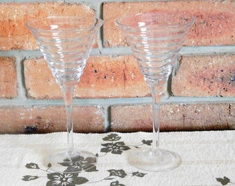 1970s pair of clear ribbed toasting glasses, champagne, wine, liqueur; ideal gift