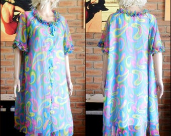 Ralston 1960s multi-coloured nylon button-through dressing gown, tea gown, house coat, robe size 20
