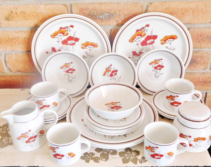 Featured listing image: Royal Doulton Lambethware Fieldflower 1970s bone china four person dinner set, plates, side plates, soup bowls, cups & saucers; wedding gift