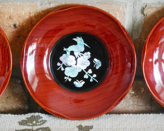 Japanese lacquer small plates abalone crane and blossom detail 1960s