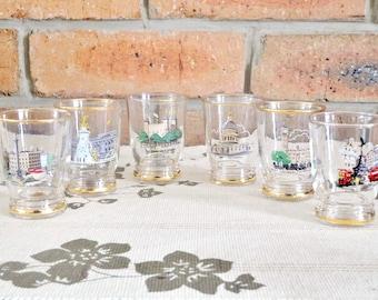 1960s set of 6 vintage shot glasses, sherry glasses, port glasses, liqueur glasses featuring London landmarks ideal Christmas gift