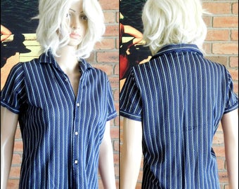 Continental brand vintage 1960s stretch knit cotton short sleeved blouse, size OS / 14 Aus.