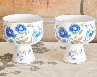 Aynsley Marlina 1970s porcelain candle holders, goblet style, Ching dynasty inspired, gift idea