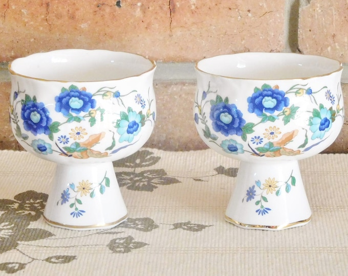 Featured listing image: Aynsley Marlina 1970s porcelain candle holders, goblet style, Ching dynasty inspired, gift idea