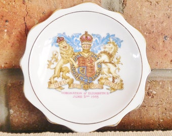 Royal Albert fine bone china vintage collectible 1953 Coronation of Queen Elizabeth pin dish