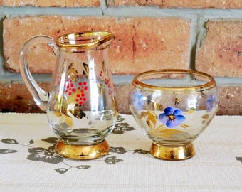 Romania clear glass handpainted pansy sugar bowl and red-gold floral creamer vintage Mother's Day gift