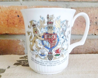 Royal Doulton 'Employees Limited Edition' 1980s commemorative porcelain mug Charles and Diana wedding
