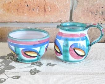 Tintagel Pottery of England vintage 1970s Roger Howard design Dragon's Eye terracotta glazed sugar bowl and creamer