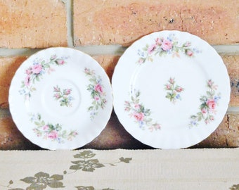 Royal Albert Moss Rose vintage 1950s bone china replacement saucer and side or bread plate