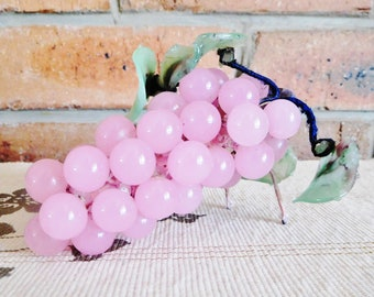 1960s vintage pink glass grapes, green glass leaves, built in stand, Kris Kringle gift idea