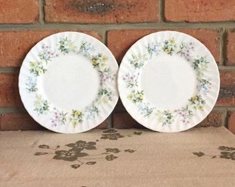 Minton Spring Valley fine bone china entree side plates 1970s, high tea