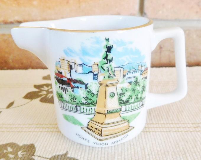Featured listing image: Westminster Australia mini porcelain creamer, milk jug, souvenir Light's Vision Adelaide, vintage 1960s
