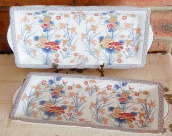 Saji Japanese fine china cake biscuit rectangular plates floral design 1960s, high tea, gift idea