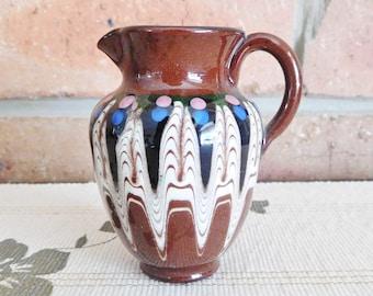 Bulgaria small terracotta glazed jug, vintage 1970s collectible display piece