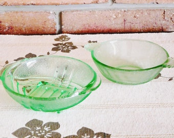 Art Deco 1930s small green depression glass bowls, nuts sweets dips, party, Kris Kringle, collectible
