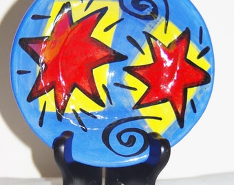 American ceramic handpainted vintage 1990s bowl by Off the Wall