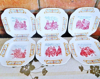 Cornelis Troost vintage 1950s Boch Freres La Louviere set of 6 porcelain side plates, made in Belgium, collectable, gift idea