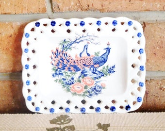 Japanese small pierced edge sweets, butter or general serving dish featuring Peacock couple, vintage 1960s