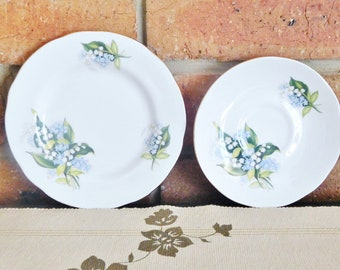 Crown Trent Staffordshire fine bone china replacement saucer, side plate, bread plate Lily of the Valley 1960s