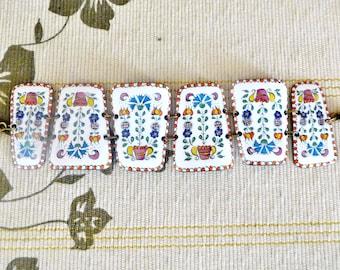 1960s vintage enamel panel bracelet, hippy design, folk art, push through closure