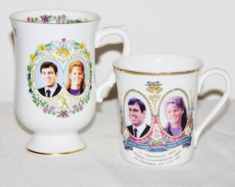 Prince Andrew Sarah Ferguson 1986 porcelain Royal Wedding mugs, Coalport, British Made