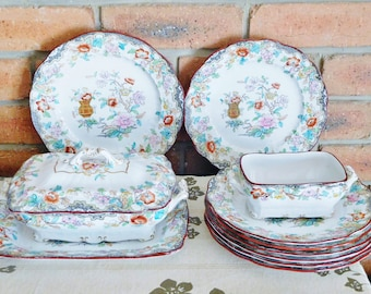 Antique Ridgways Simlay incomplete dinner set, Stoke on Trent, comprises plates, serving platter, tureen, gravy dish, 1880s, rare