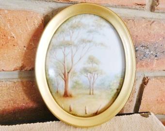 Vintage original small Australian landscape watercolour painting on porcelain, 13cm oval frame, mid century, unsigned