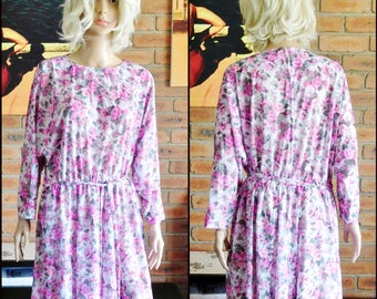 1980s vintage pink rose floral long sleeved day dress, mid length, belted, spring, summer, garden party, size 16-18