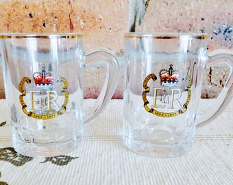 1977 Queen Elizabeth II Silver Jubilee mini glass tankards, liqueur glasses, port glasses, made in France, Royal souvenir