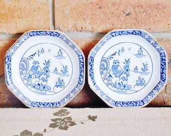 Alva Woods Ware 1920s orphan saucers, Art Deco era, blue and white