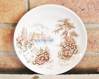 Johnson Bros Castle on the Lake vintage 1960s English saucer, multicoloured, high tea