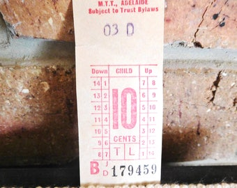 1969 Adelaide South Australia child's MTT Leal bus ticket, 10c, collectable