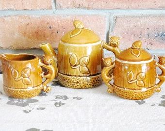 Japanese vintage 1960s squirrel and acorn design teapot, sugar bowl, milk jug / creamer, gift idea