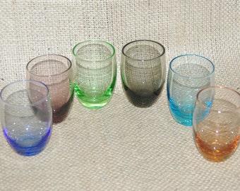 Harlequin liqueur sherry port shot glasses vintage 1960s