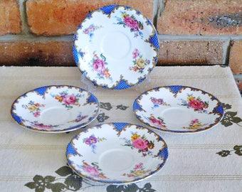 Aynsley 1930s set of 4 bone china saucers, blue edging, floral design, high tea