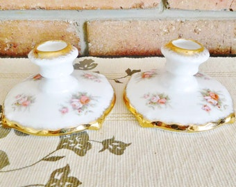 Paragon Royal Albert Victoriana Rose fine porcelain china candlesticks, vintage 1960s, rare