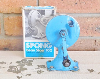 Spong 102 vintage 1970s bean slicer with suction cups, original box, working order, retro kitchenalia