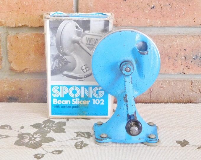 Featured listing image: Spong 102 vintage 1970s bean slicer with suction cups, original box, working order, retro kitchenalia