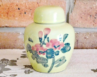 West German unmarked bone china ginger jar, spice jar, urn with lid floral design 1950s