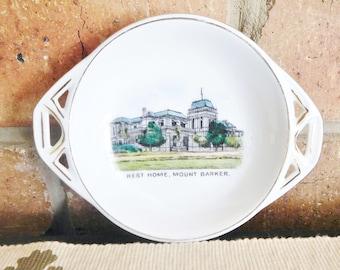 Victoria China Czechoslovakia Art Deco era 1930s twin handled pin dish featuring Rest Home, Mount Barker vintage souvenir