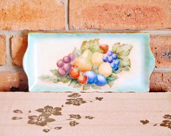 Vintage 1970s bone china cake sandwich plate, handpainted fruit motif