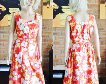 Fashion Modes Australian 1970s sleeveless floral day dress with belt, marked size 18