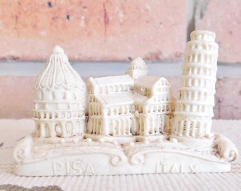 Pisa Italy miniature ivory resin plaster tourist souvenir, vintage 1970s, Leaning Tower, Pisa Cathedral, Pisa Baptistery
